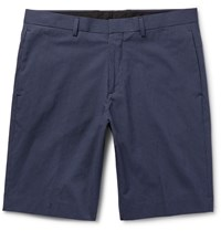 Theory Beck Boone Micro Checked Cotton Blend Shorts Blue