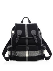 Burberry Check Calf Leather Blend Duffle Backpack Black