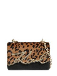Karl Lagerfeld Signature Ponyskin And Faux Leather Bag Leopard