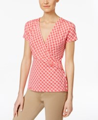 Charter Club Printed Faux Wrap Top Only At Macy's Crushed Coral