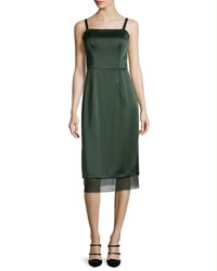 Grey Jason Wu Square Neck Double Satin Slip Dress Deep Forest