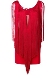 Stella Mccartney Fringed Mini Dress Red