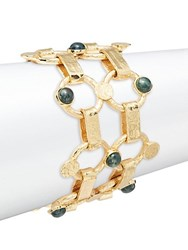 Stephanie Kantis Chantilly Green Moss Agate Thin Bracelet Gold