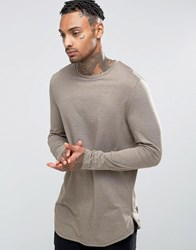 Asos Longline Long Sleeve T Shirt With Curve Hem And Zip In Brown Beige