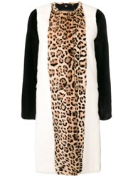 Giambattista Valli Animal Print Fur Coat Silk Mink Fur