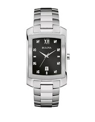 Bulova Stainless Steel And Diamond Watch 96D125 Silver