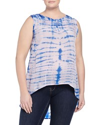 Nu Construction Plus Tie Dye High Low Tank Light Pink Blue