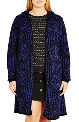 City Chic Plus Size Women's Geo Pattern Hooded Cardigan Cobalt