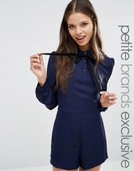 Fashion Union Petite Diana Playsuit With Bow Detail Navy