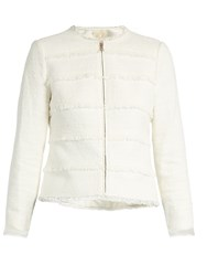Rebecca Taylor Collarless Cotton Blend Tweed Jacket White
