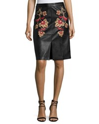 Minkpink Fallen Embroidered Faux Leather Midi Skirt Black