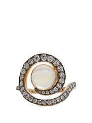 Noor Fares Diamond Moonstone And Yellow Gold Ring White