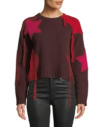 360 Sweater Julita Patchwork Fringe Cashmere Red Pattern