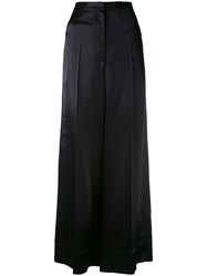 Christophe Lemaire Classic Palazzo Trousers Women Cotton Polyester Virgin Wool 34 Black