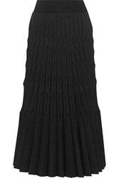 Barbara Casasola Soleil Pleated Stretch Knit Midi Skirt Black
