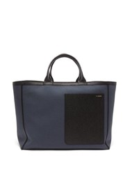 Valextra Shopping Canvas And Leather Tote Bag Blue