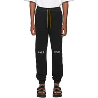 Pyer Moss Black Embroidered Logo Slouchy Jogger Pants
