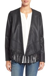 Women's Bernardo Fringe Faux Leather Jacket