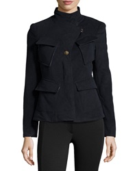 L.A.M.B. Fleece Diagonal Pockets Jacket Navy