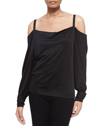 Donna Karan Long Sleeve Cold Shoulder Blouse Black