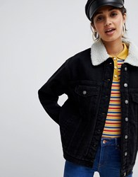 Bershka Borg Collar Denim Jacket Black