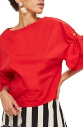 Topshop Women's Bow Sleeve Blouse Red