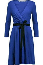 Diane Von Furstenberg Wool Jersey Wrap Dress Bright Blue