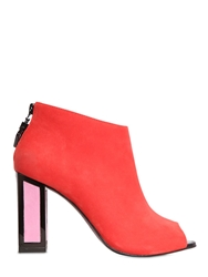 Kat Maconie 90Mm Maisie Suede Open Toe Boots Red Pink