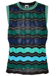 M Missoni Chevron Print Knitted Top Blue