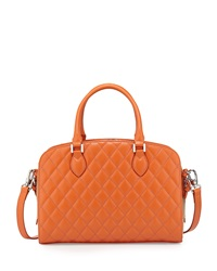Charles Jourdan Victoria Quilted Leather Satchel Bag Orange Tan