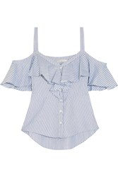 Veronica Beard Grant Cold Shoulder Ruffled Striped Cotton Blouse Blue