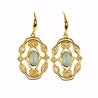 Neola Norresa Gold Earrings With Aqua Chalcedony