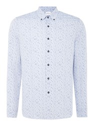 Peter Werth Men's Ripple Printed Cotton Mix Shirt Blue