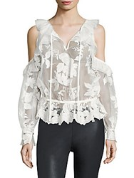 Three Floor Icelandic Cold Shoulder Lace Top Off White