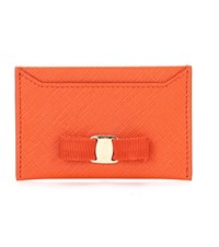 Salvatore Ferragamo Embellished Card Holder Orange
