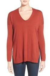Trouve Trouve V Neck Tunic Sweater Red