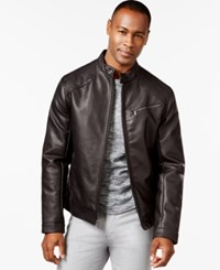 Inc International Concepts Chen Faux Leather Bomber Jacket Only At Macy's Burgandy