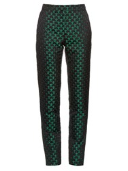 Mary Katrantzou Agate High Rise Jacquard Trousers Green Multi