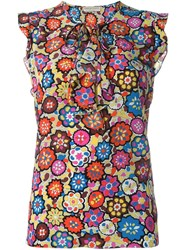 Emilio Pucci Floral Ruffle Trim Top Multicolour