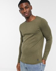 Tom Tailor Crew Neck Knitted Jumper With Rolled Edges Green