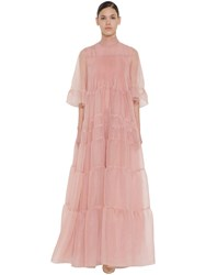 Rochas Long Ruffled Silk Organza Dress Light Pink