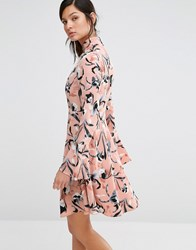 Neon Rose High Neck Dress With Flare Sleeves In Iris Print Multi