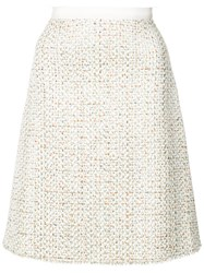 Giambattista Valli A Line Tweed Skirt Nude And Neutrals
