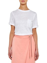 Ted Baker Colour By Numbers Harlaa Square Cut Linen T Shirt White