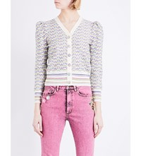 Marc Jacobs Crystal Embellished Button Metallic Knit Cardigan Vintage Wht Mlt
