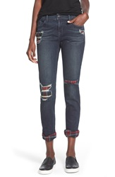 Sp Black Plaid Lined Girlfriend Jeans Dark Wash