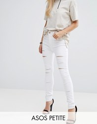 Asos Petite Ridley Full Length High Waist Skinny Jeans In White With Shredded Rips White