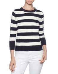 Magaschoni Ribbed Striped Sweater Black Ivory