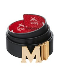 Mcm Visetos Reversible M Buckle Monogram Belt Red White