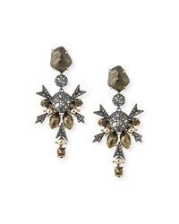Alexis Bittar Baroque Pearly Crystal Statement Clip On Earrings Ruthenium